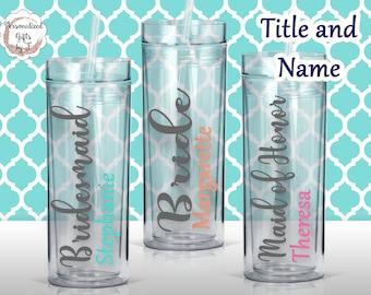 Personalized Bridesmaid Tumbler Glass Personalized Tumbler, Bridesmaid Gift, Bachelorette Party, Bridesmaid Glass design #102