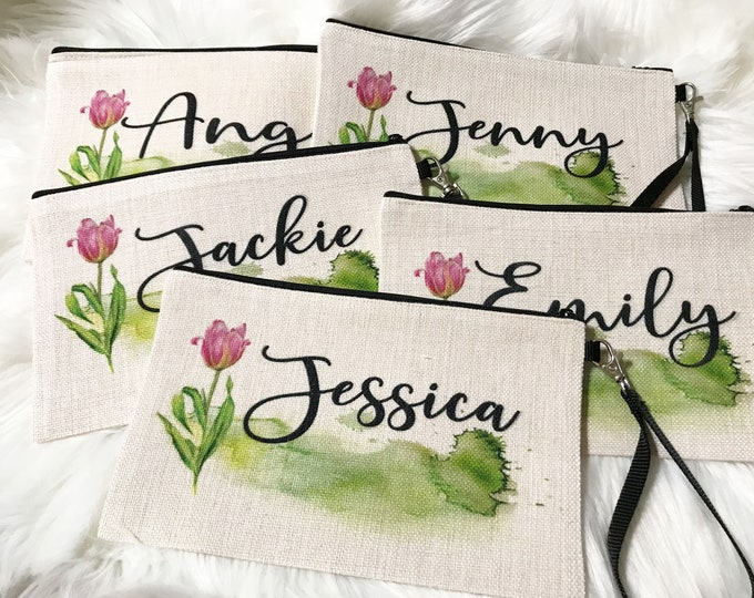 Bridesmaid makeup bag, Personalized accessory bag, cosmetic bag COS25