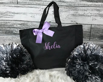 Personalized Cheer Bag, Dance Tote, Bridesmaid Gift Tote Bag, Beach Bag, Wedding Party Gift, Name Tote (ESS1)