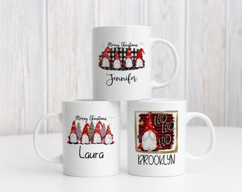 Gnome Buffalo Check Personalized Mug, Personalized Christmas Gift