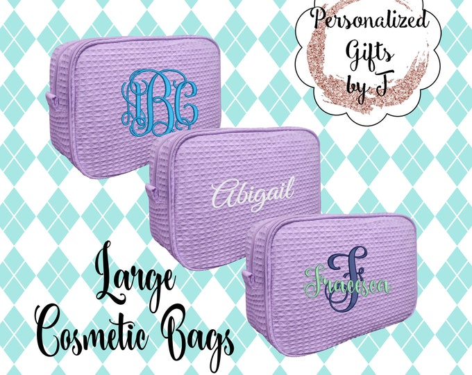 Lavender Bridesmaid Makeup Bag, Bridesmaid Waffle Cosmetic Bags, Bridal Party Gift, Bridesmaids Bag, Personalized Bridesmaid Gifts, Monogram