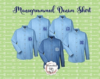 Embroidered Denim Shirts, Monogrammed Bridesmaids Shirt, Personalized Button Down Shirt, Bridesmaids Gift, Bridal Party Gifts,