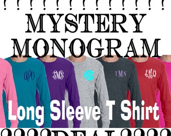 SALE*** Mystery Monogrammed Long Sleeve t shirt, personalized long sleeve tshirt, Gift under 15