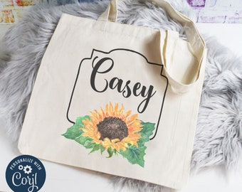 New! Personalized Bridesmaids Gift Tote Bags, Design Your Own with Corjl Sunflower
