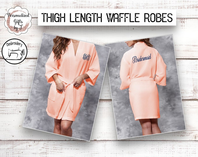 Personalized Bridesmaid Robe, Soft Peach Monogrammed Robe, Waffle Robe, Personalized Bridesmaid Gifts