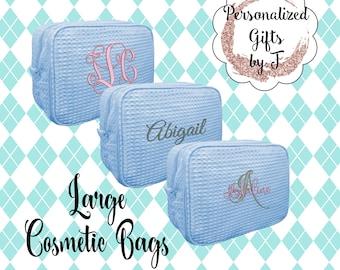 Serenity Blue Bridesmaid Makeup Bag, Bridesmaid Cosmetic Waffle Bag, Bridesmaid Bag, Monogrammed Bag, Personalized Bridal Party Gift