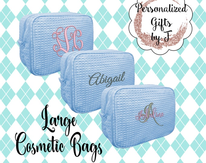 Serenity Blue Bridesmaid Makeup Bag, Bridesmaid Cosmetic Waffle Bag, Bridesmaid Bag, Monogrammed Bag, Personalized Bridal Party Gift