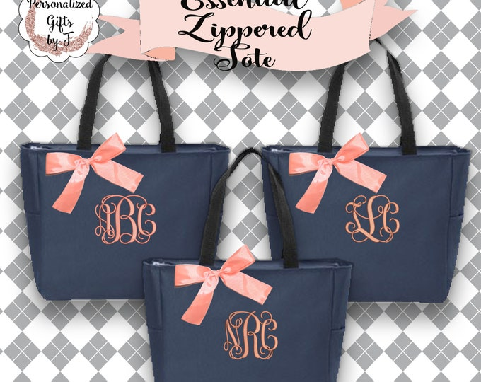 12 Personalized Bridesmaid Gift, Zipper Tote Bags, Personalized Tote, Bridesmaids Gift, Monogrammed Tote, Maid Of Honor Gifts, ESZ1