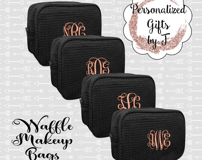 Set of 3, 4, 5, 6 Bridesmaid Makeup Bag, Bridesmaid Cosmetic Waffle Bridesmaid Bag, Monogrammed Bag, Personalized Bridal Party Gift