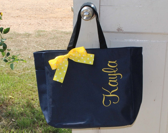 2 Personalized Bridesmaid Gift Tote Bags Embroidered Tote Monogrammed Tote Bridal Party Gift Navy and Yellow Tote Bag Teacher Gift For Her