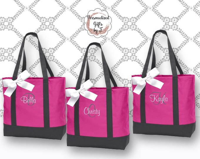 Personalized Beach Tote, Bridesmaid Bag, Bridesmaid Gift, Maid Of Honor Gift, Monogram Tote, Cheer Totes, Gifts for Her (NS2T)