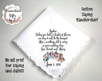 Flower Girl Gift, Custom Handkerchief, Wedding Hanky custom Text Hanky, Mother of the Groom Hanky, Grandmother Gift Mother of the Bride ipb4