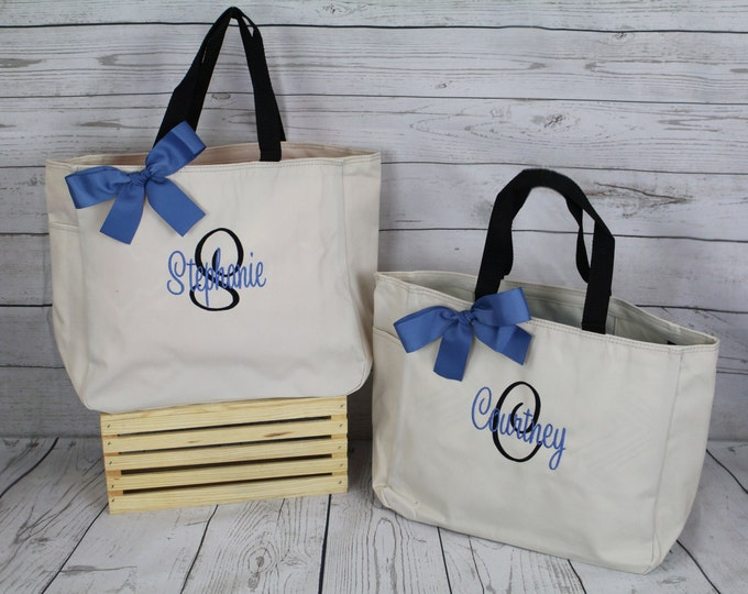Personalized Tote,  Bridesmaid Gift Tote Bag- Wedding Party Gift- Bridal Party Gift- Initial Tote- Mother of the Bride Gift