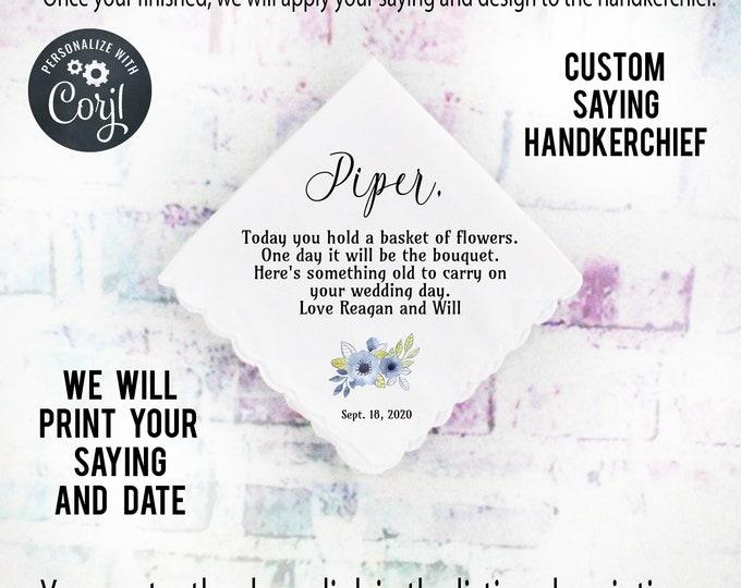 Flower Girl Gift, Custom Handkerchief, Wedding Hanky custom Text Hanky, Mother of the Groom Hanky, Grandmother Gift  Corjl 4