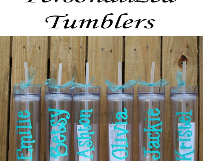 Personalized Bridesmaid Tumblers Glass Set of 10 Personalized Tumbler, Bridesmaid Gift, Bachelorette Party, Bridesmaid Glass