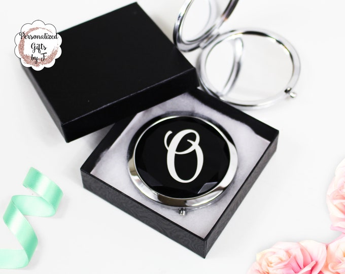 Black and Silver Compact Mirror