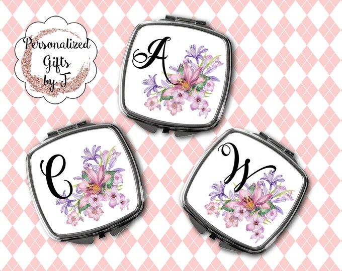 Initial Compact Mirror, Bridesmaid Gift, Makeup Mirror, Bridal Party Gift, Floral Compact, Purse Mirror, Design 1111