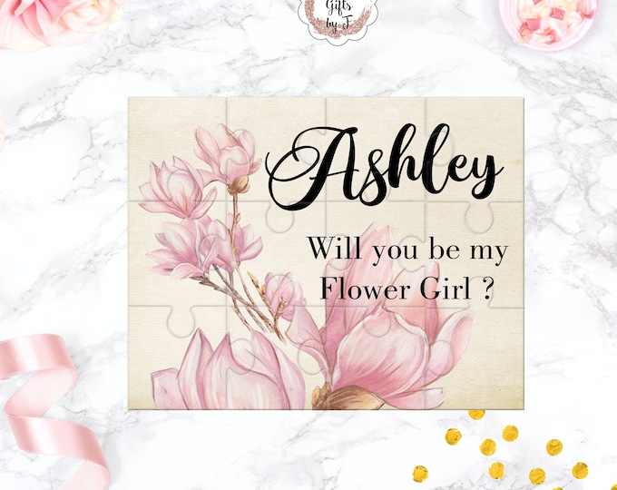 Will You Be My Flower Girl Puzzle Flower Girl Proposal Flower Girl Gift  Cute Gift Keepsake Memento Personalized Blush Magnolia design 104