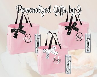16 Bridesmaid Totes and Tumblers Set, Bridesmaid Gifts, Bridesmaid Bags, Skinny Tumblers, Bridal Party Gift, Wedding Bag