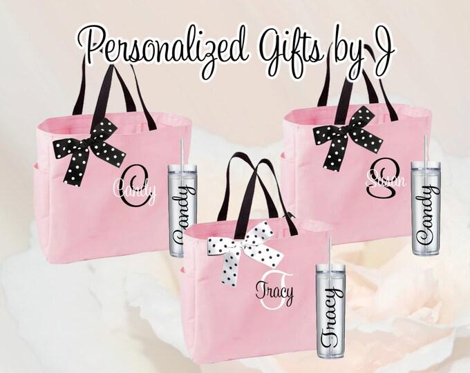 16 Bridesmaid Totes and Tumblers Set, Bridesmaid Gifts, Bridesmaid Bags, Skinny Tumblers, Bridal Party Gift, Wedding Bag