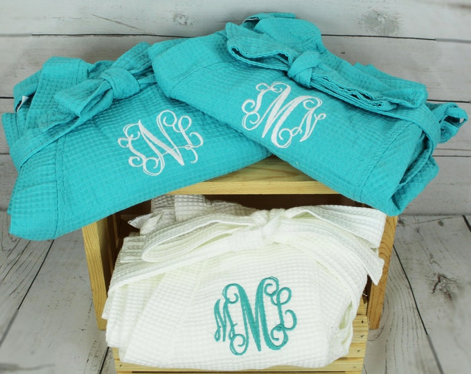 5 Wedding Robes, Personalized Bridesmaid Robe, Set of 5 ,Monogrammed Robe, Waffle Robe, Personalized Bridesmaid Gifts