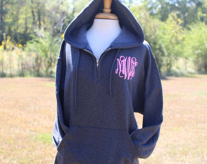 Monogram sweatshirt, Monogrammed Quarter Zip Hooded Pullover