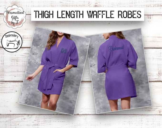 Purple Getting Ready Robes, Personalized Bridesmaids Robe, Monogrammed Robe, Waffle Robe, Personalized Bridesmaid Gifts