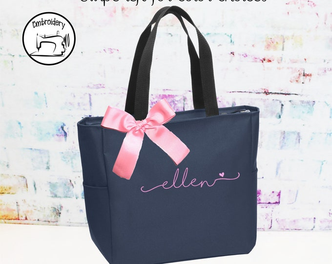 Personalized Bridesmaid Tote Bags- Embroidered  Zippered Tote - Maid of Honor Gift - Name Tote- shoreline