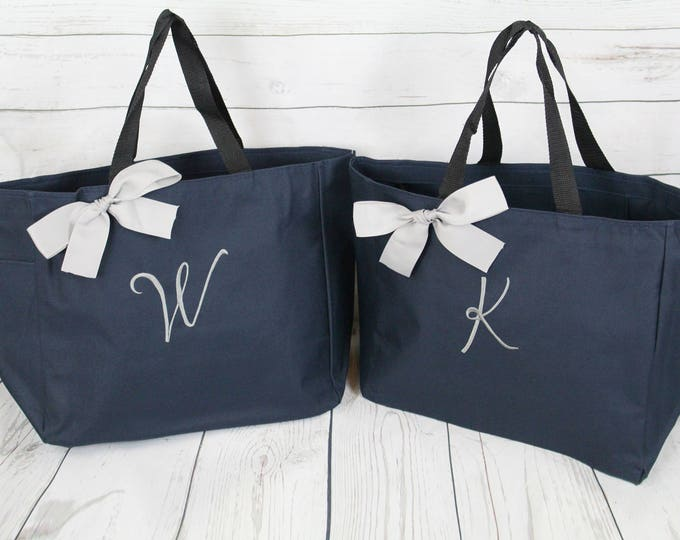 Set of 2 Personalized Bridesmaid Gift Tote Bags Monogrammed Tote, Bridesmaids Tote, Personalized Tote Wedding