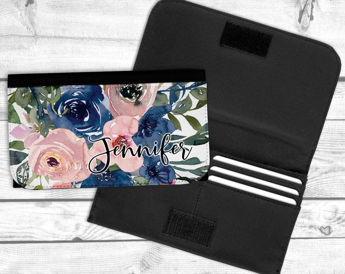 Navy and Blush Floral Wallet, Personalized wallet, Custom Wallet