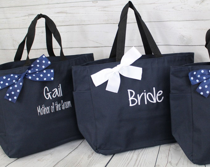 Bridesmaid Tote, Set of 7, Personalized Bridesmaid Gift, Tote Bags, Monogrammed Tote, Bridesmaids Tote, Personalized Tote (ESS1)