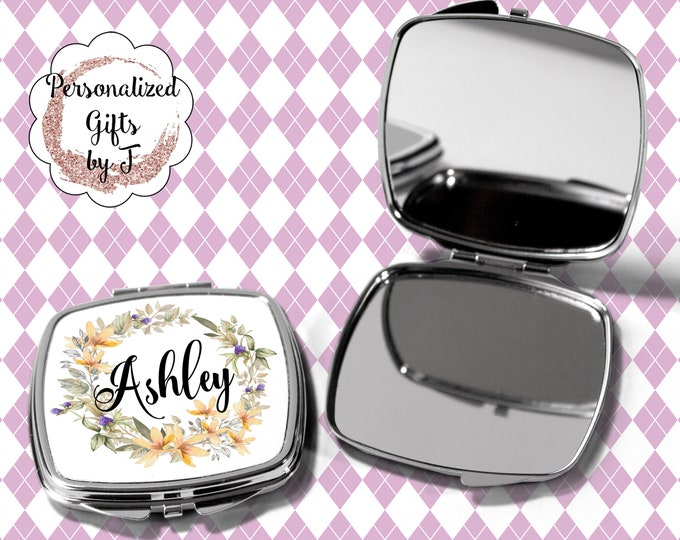Pocket Mirror, Bridesmaids Gifts, Yellow and Purple, Personalized Bridesmaid Gift, Compact Mirror, Monogrammed Mirror design 1120