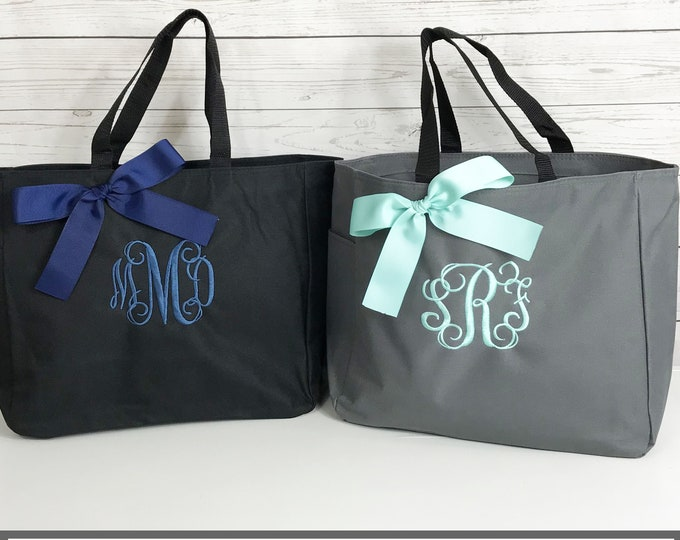 Set of 4, Personalized Bridesmaid Gift, Personalized Tote, Bridesmaids Gift, Monogram Tote, Maid of Honor Tote Bag, Wedding Day Tote (ESS1)