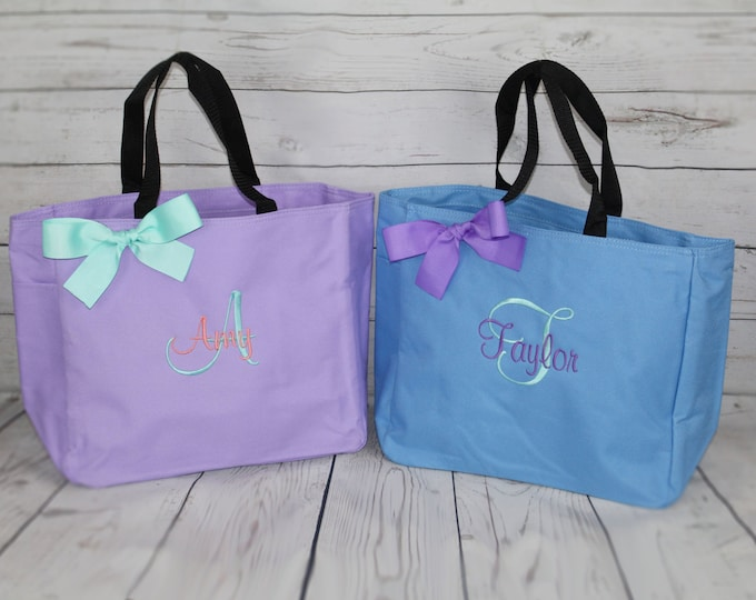 8 Monogrammed Bridesmaid Gift Totes, Personalized Tote Bag Set, Maid of Honor Gift, Mother of the Bride Gifts, Attendant Gift, Hostess Gift
