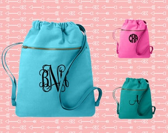 Monogrammed Cinch Saks, Canvas Cinch Sack, Tween Gift, Teen Christmas Gift, Birthday Gift, Comfort Colors Cinch Bag, Everyday Bag, Book Bag