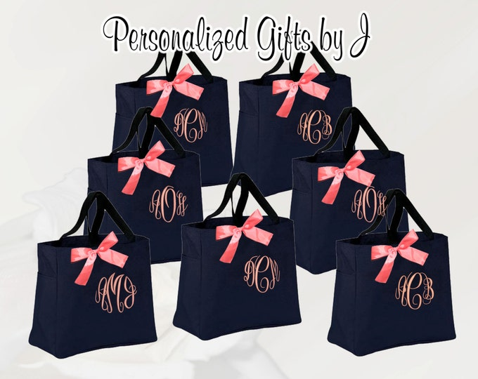 Personalized Bridesmaid Bag  (Set of 2), Embroidered Tote, Monogrammed Tote, Bridal Party Gift (ESS1)