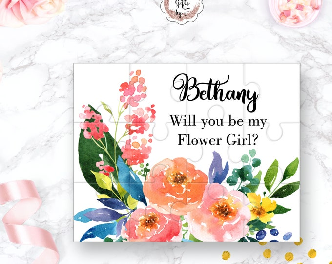 Will You Be My Flower Girl Puzzle Flower Girl Proposal Flower Girl Gift  Cute Gift Keepsake Memento Personalized Flower Girl Gift design 106
