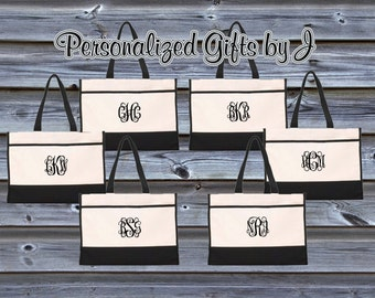 Monogrammed Tote Bag (Set of 5)- Bridesmaid Gift- Personalized Bridemaid Tote - Wedding Party Gift - Name Tote-