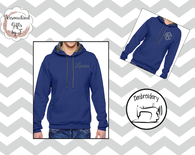 Admiral Blue Monogrammed Pullover Sweatshirt, Personalized Hoodie, Monogrammed gift for Her, Gift for Wife, Girlfriend Gift, Sister Gift