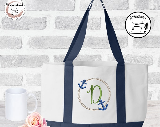 Anchor Monogram Boat Tote Beach Bag Personalized Monogrammed Bridesmaid Bags Personalized Tote Bridesmaids Gift Monogrammed Tote design16