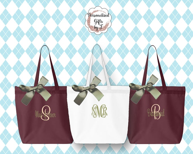 Bridesmaid Gift, 3 Personalized Zippered Tote, Bridesmaid Gift Set, Bridesmaid Gifts- Personalized Tote Bag, Wedding Party Gift