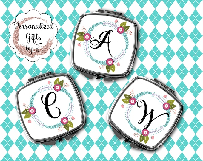 Compact Mirror, Bridesmaids Gifts, Personalized Bridesmaid Gift, Personalized Compact Mirror, Monogrammed Mirror design1119
