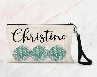 Personalized Bridesmaid Gift, Floral Makeup Pouch, Linen Makeup Pouch, Cosmetic Case COS35