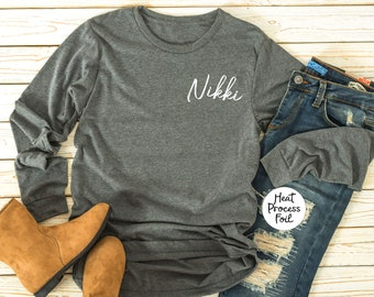 Personalized Monogrammed Long Sleeve T Shirts Personalized, Sorority, Cheer Team, Bridesmaid Gift, Bridal Party, T shirt, Long Sleeve Tee