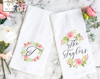 Set of 2 Personalized Tea Towels, Custom Kitchen Towels, Flour Sack Towels, Hostess Gift, House warming Gift (Design 1)