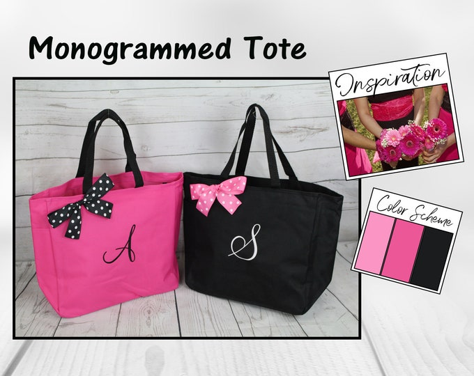 Bridesmaid Gift Personalized Tote Bags Monogrammed Tote, Bridesmaids Tote, Personalized Tote, Wedding Totes, Day of Wedding Bag (ESS1)