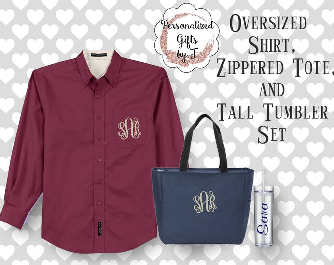 Bridesmaid Gift Set, Oversized Shirt, Zippered Tote, and Tumbler Set, Monogrammed, Personalized, Customized, Getting Ready Set