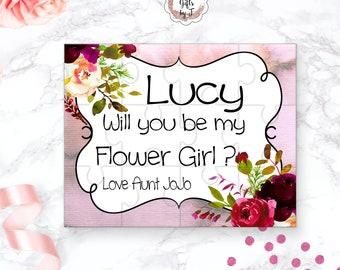 Flower Girl Proposal Flower Girl Gift  Burgundy Floral Cute Gift Keepsake Memento Personalized Flower Girl Gift design 111