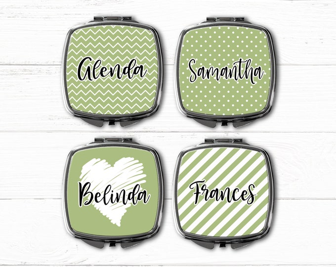 Bridesmaid Gift pocket mirror, compact mirror, personalized mirror, monogrammed gift, purse mirror, bridesmaids gifts