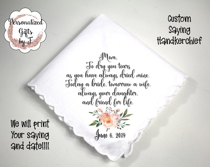 Mother of the Groom Gift, Custom Handkerchief, Wedding Hanky, Your custom Text Hanky, Mother of the Bride Hanky, Grandmother Gift dh05